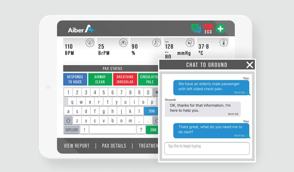 Aiber Medical Inflight App on iPad