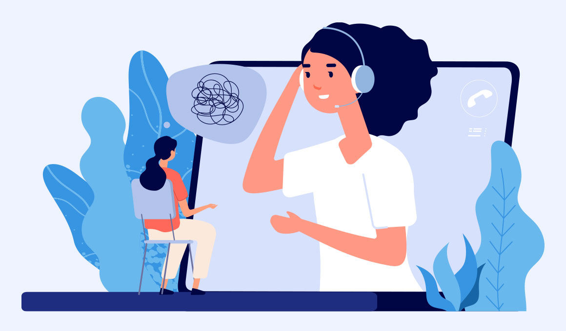 Online Mental Health Counselling Illustration