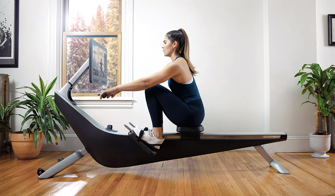 Hydrow rowing machine in use